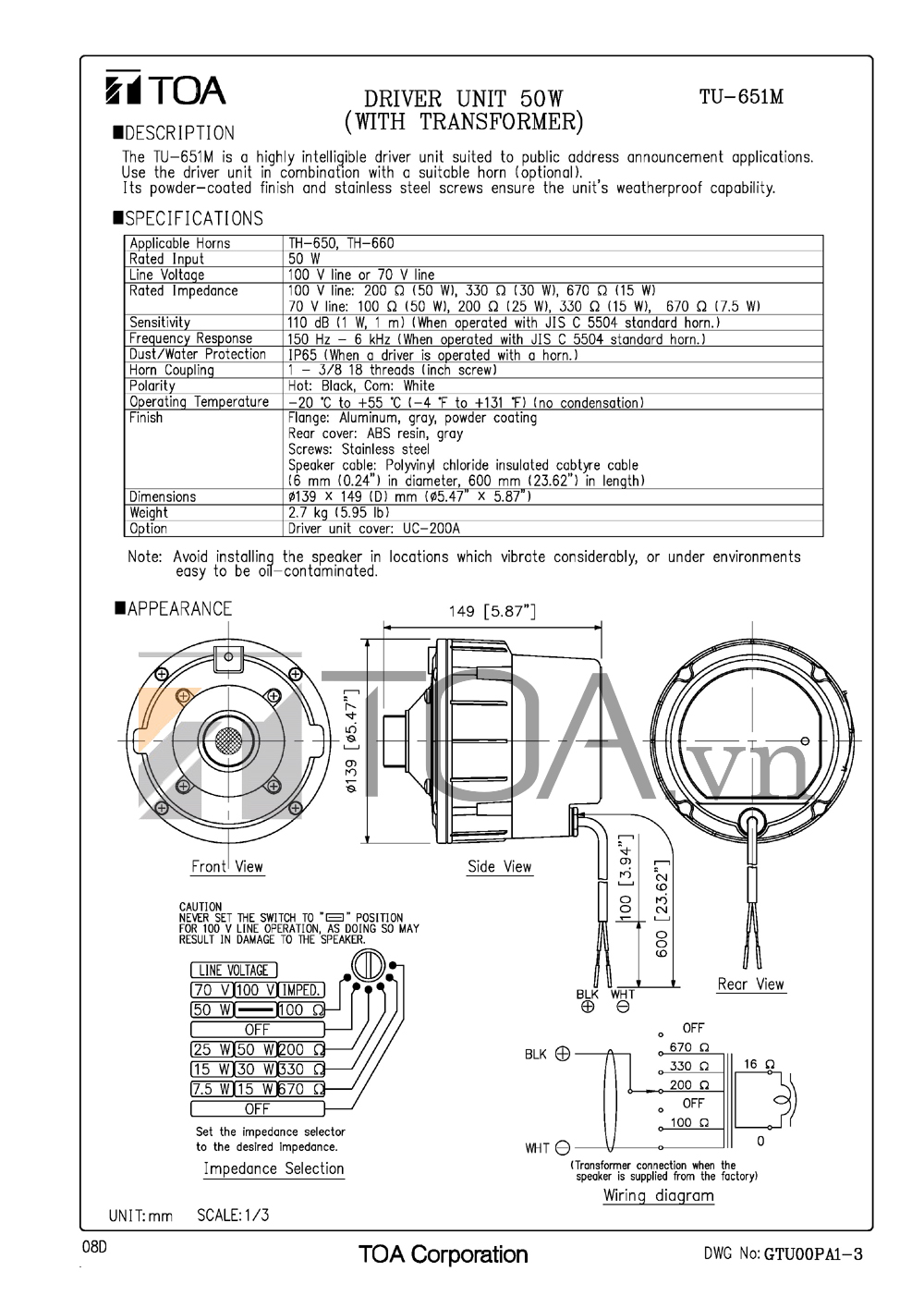 Catalog TOA BS-633A