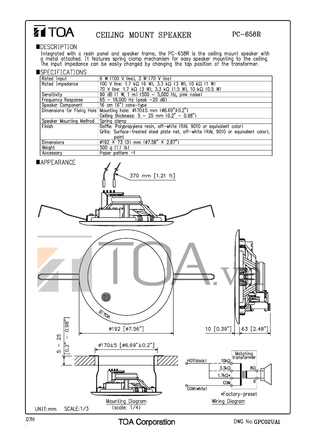 Bảng chi tiết thông số kỹ thuật loa PC 658R