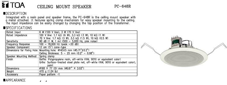 Loa âm trần 6W TOA PC648R