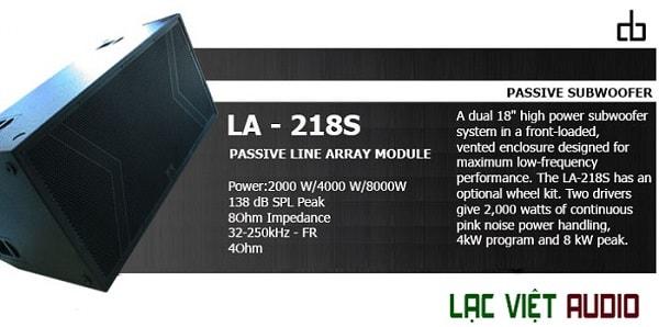 Thông số Loa Sub DB LA-218S