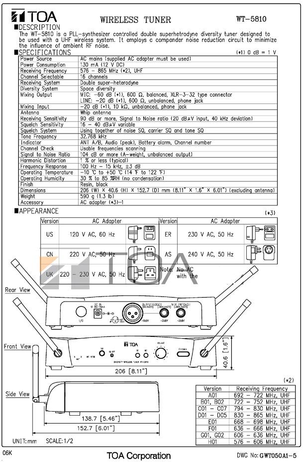 Catalog TOA WT-5810