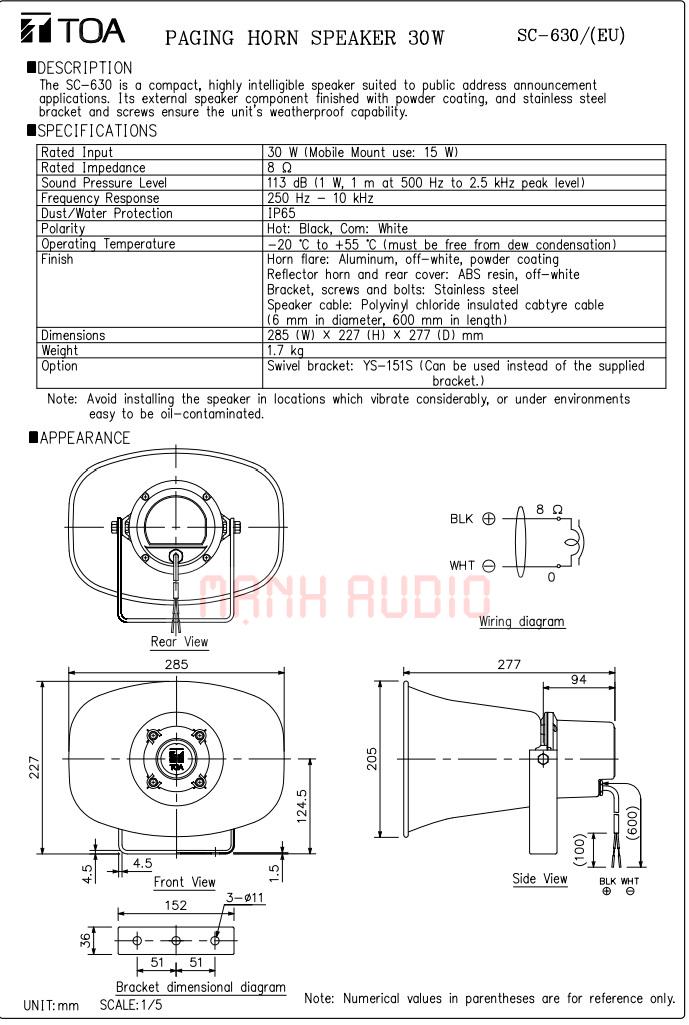 Bản vẽ loa TOA SC630
