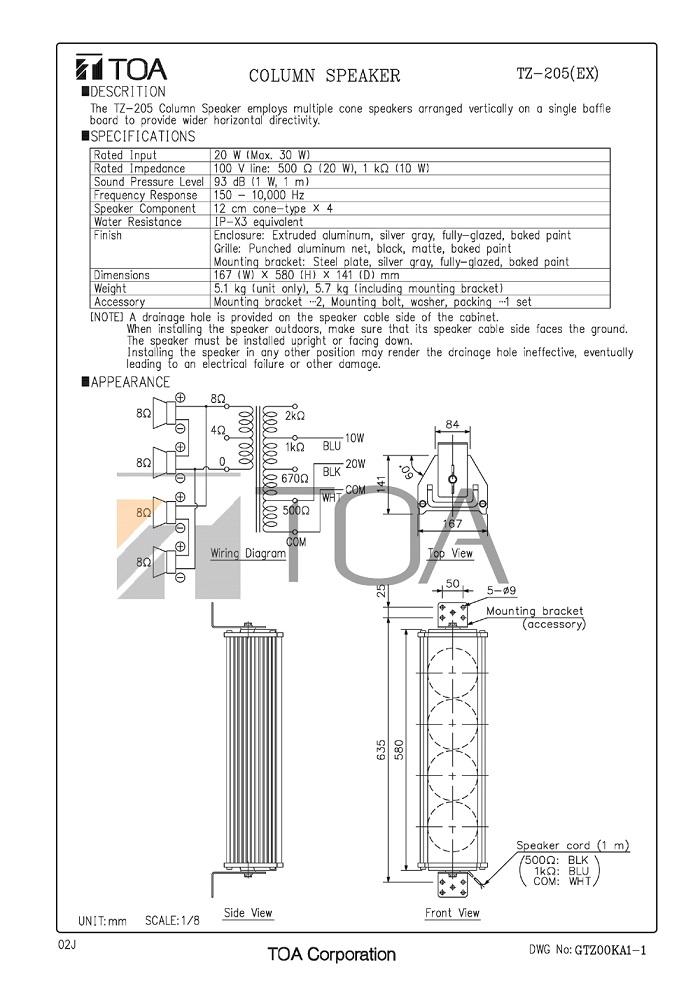 Catalog TOA TZ 105